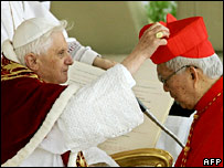 The Pope gives Cardinal Gaudencio Rosales of the Philippines his red hat