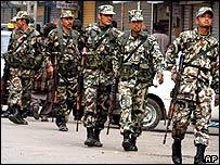 Nepalese soldiers patrol in Kathmandu