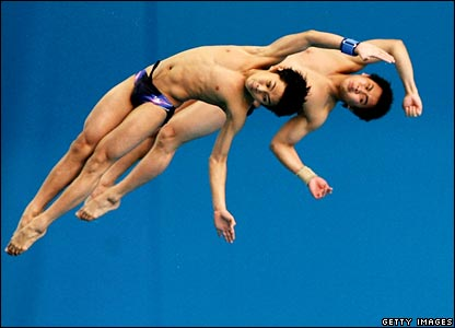 Synchronised divers James Sandayud and Bryan Nickson of Malaysia in the men's 10m synchronised platform final