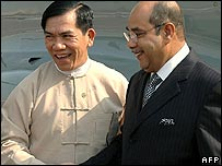 Myanmar Foreign Minister Nyan Win (left) receives his Malaysian counterpart Syed Hamid Albar