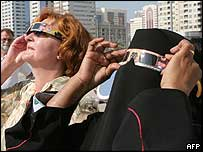 Women watching eclipse through special glasses in Dubai