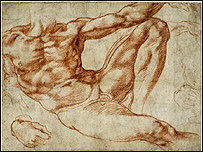 One of the Michaelangelo sketches on exhibit at the British Museum