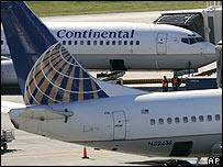 Aviones de Continental Airlines.