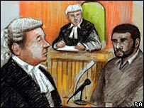 Mohammed Babar on the stand with David Waters QC, for the prosecution