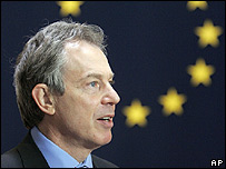 Tony  Blair at an EU summit in Brussels