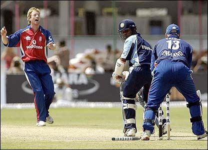 Paul Collingwood's slower ball removes Venugopal Rao's leg-stump