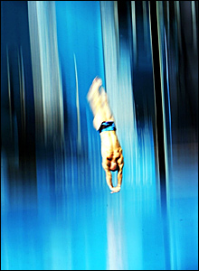 Peter Waterfield executes a dive