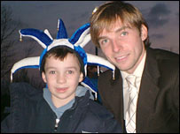 Reading star Bobby Convey (right) with young Sam Roach