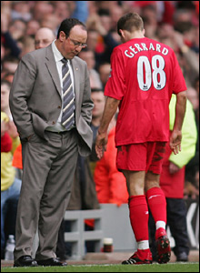 Steven Gerrard leaves the field after being sent off