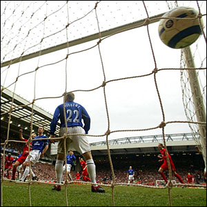 Everton's Phil Neville (not pictured) scores an own goal