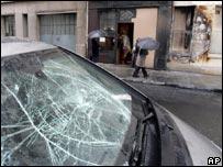 Damaged car in Paris