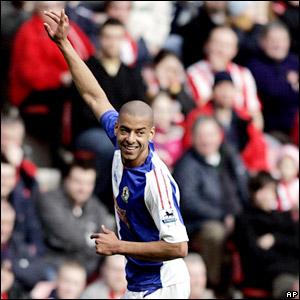 Steven Reid celebrates after scoring for Blackburn Rovers