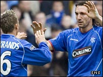 Peter Lovenkrands celebrates with goalscorer Sotirios Kyrgiakos