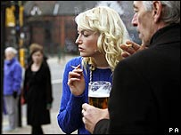 Smokers on the street in Scotland