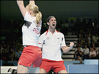 Nathan Robertson and Gail Emms won badminton mixed doubles gold