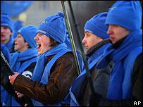 Supporters of Ukraine's former Prime Minister Viktor Yanukovych