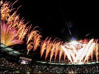Fireworks light up the Melbourne Cricket Ground