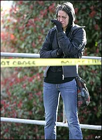 K C Bosq, crying at the scene of the shootings