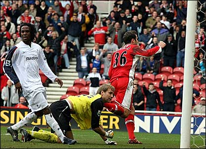 Middlesbrough striker Mark Viduka wheels away in celebration after scoring against Bolton