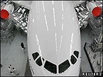 Airbus A380 in its hangar in Hamburg
