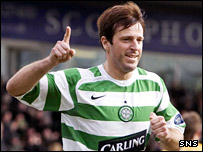 Zurawski celebrates Celtic's opening goal