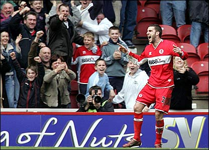 Stuart Parnaby celebrates his last-gasp winner for Middlesbrough