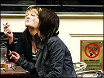 Two women smoking outside a pub in Edinburgh