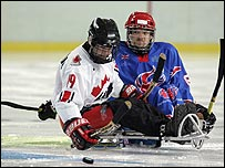 Nathan Stephens (right) in action against Canada
