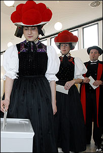 Voters in traditional costume in Baden-Wuertemberg