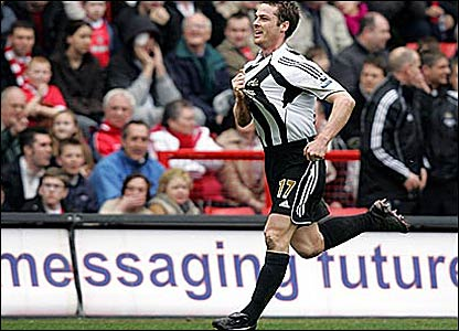 Scott Parker celebrates scoring for Newcastle