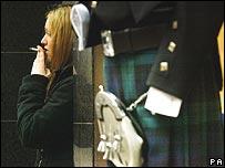 Woman outside bar in Edinburgh