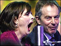 Tony and Cherie Blair during the closing ceremony of the Commonwealth Games in Melbourne