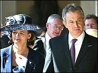 Tony and Cherie Blair in Australia, visiting a war memorial