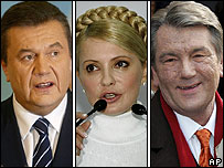 Ukraine's three main party leaders - Viktor Yanukovych, Yulia Tymoshenko and President Viktor Yushchenko