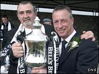 Gretna owner Brooks Mileson (left) and manager Rowan Alexander