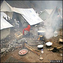 A tent camp for Kashmir quake survivors in Thuri Park, Muzaffarabad