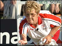 Betty Morgan on her way to silver in the women's singles