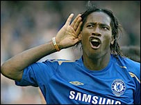 Didier Drogba celebrates Frank Lampard's first goal against Bolton in October 2005