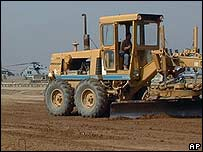 Construction vehicle at the US air base at Balad, north of Baghdad