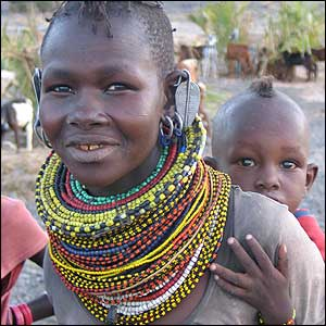 Turkana woman with baby on her back
