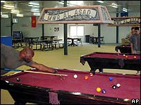 Soldier plays snooker at Al-Asad air base