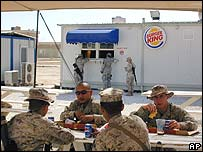 Troops at a fast-food restaurant on al-Asad base, western Iraq