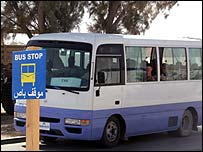 Bus on al-Asad base, western Iraq (image courtesy public affairs dept, al-Asad base)