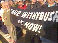 A protest against any hospital changes at Withybush last October