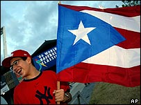 Baseball fan with flag of Puerto Rico