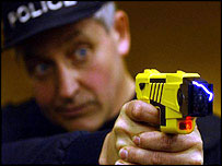 Taser stun guns are used by police forces in Britain