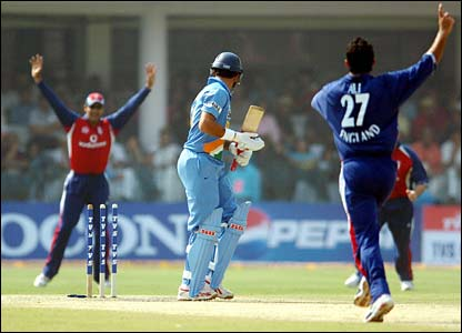 India's Yuvraj Singh is bowled by Kabir Ali