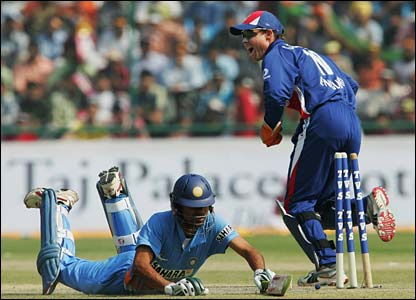 India's Mohammad Kaif is run out