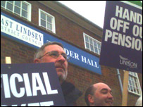 public sector workers on strike in Lincolnshire