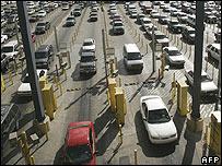 San Ysidro border post between Mexico and the US